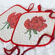 Для дома и интерьера ручной работы. Ярмарка Мастеров - ручная работа Подарок женщине прихватки Красная роза. Handmade.