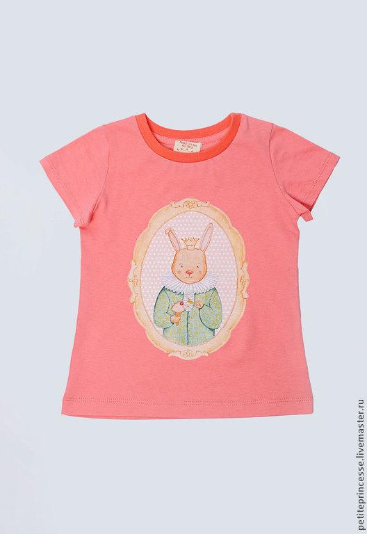 """Одежда для девочек, ручной работы. Ярмарка Мастеров - ручная работа. Купить футболка розовая """"Зайка"""". Handmade. Бирюзовый, пироженое, для принцессы"""