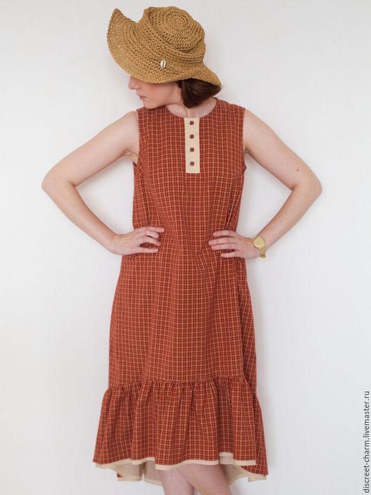 Платья ручной работы. Ярмарка Мастеров - ручная работа. Купить Летнее платье без рукавов, оранжевое в клетку, с ассиметричным низом. Handmade.
