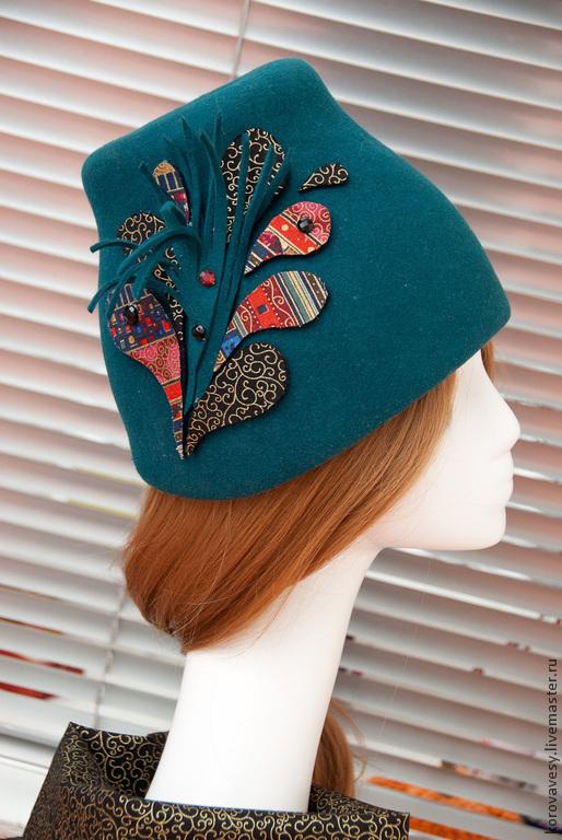 """Шляпы ручной работы. Ярмарка Мастеров - ручная работа. Купить """"Зимняя Венеция"""". Handmade. Морская волна, стразы, фетр"""