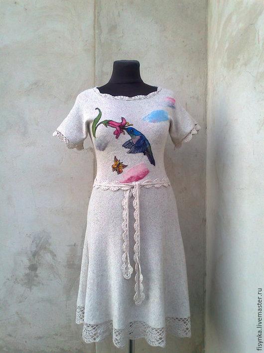 Платья ручной работы. Ярмарка Мастеров - ручная работа. Купить платье вязаное  лен. Handmade. Цветочный, платье коктейльное
