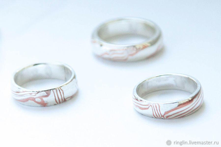 Ring from silver and copper in the technique of 'mokume gane', Rings, Moscow,  Фото №1