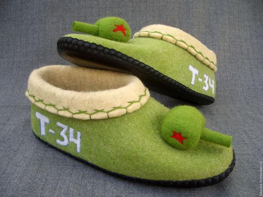 Обувь ручной работы. Ярмарка Мастеров - ручная работа. Купить тапки танки. Handmade. Зеленый, тапки из шерсти, тапки из войлока