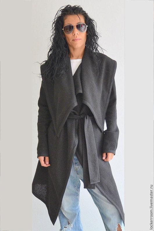 Верхняя одежда ручной работы. Ярмарка Мастеров - ручная работа. Купить Черное Пальто кардиган Instyle. Handmade. Пальто женское