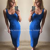 Платье майка синее