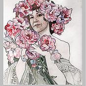 Открытки ручной работы. Ярмарка Мастеров - ручная работа Акварельная открытка-портрет с цветами. Handmade.