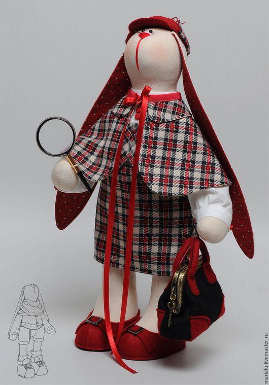 Куклы Тильды ручной работы. Ярмарка Мастеров - ручная работа. Купить Зая для дамы эксперта-криминалиста.. Handmade. Бордовый, сыщик