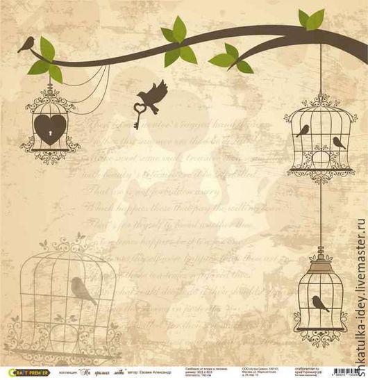 """Открытки и скрапбукинг ручной работы. Ярмарка Мастеров - ручная работа. Купить Бумага для скрапбукинга """"На крыльях любви"""" дерево в желтом. Handmade."""