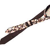 Галстуки ручной работы. Ярмарка Мастеров - ручная работа Женский двухсторонний галстук коричневого цвета, хлопок. Handmade.