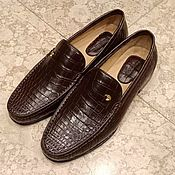 Обувь ручной работы handmade. Livemaster - original item Loafers for men, made of genuine crocodile leather, brown color.. Handmade.
