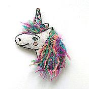Украшения handmade. Livemaster - original item Author`s brooch is in the style of boho Spring one unicorn`s. Handmade.
