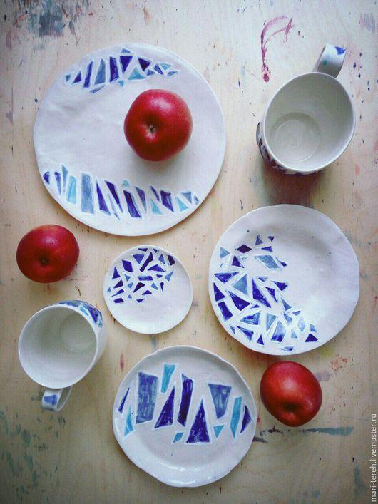 """Тарелки ручной работы. Ярмарка Мастеров - ручная работа. Купить Коллекция керамической посуды """"Мозаика"""". Handmade. Голубой, высокотемпературный обжиг"""