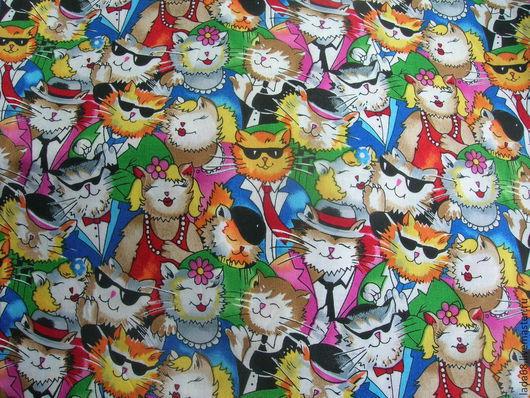 Шитье ручной работы. Ярмарка Мастеров - ручная работа. Купить ткань хлопок американский кошки (американский хлопок). Handmade. Разноцветный
