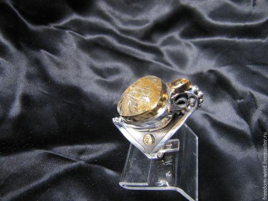 Кольца ручной работы. Ярмарка Мастеров - ручная работа. Купить Кольцо с солнечным кварцем. Handmade. Авторская ручная работа, позолота