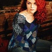 """Одежда ручной работы. Ярмарка Мастеров - ручная работа Пуловер """"10 оттенков синего"""" из шерсти и шелка. Handmade."""