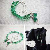 Украшения handmade. Livemaster - original item Long earrings with quartz and chrysoprase