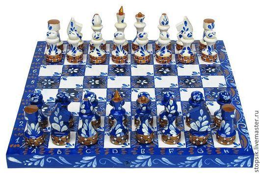 Настольные игры ручной работы. Ярмарка Мастеров - ручная работа. Купить Шахматы Гжель (10908). Handmade. Шахматы, шахматы в подарок
