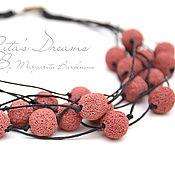 Украшения handmade. Livemaster - original item Coral red beads with volcanic lava on waxed cord necklace. Handmade.