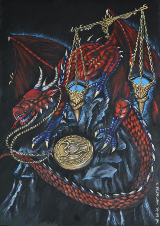 """Фэнтези ручной работы. Ярмарка Мастеров - ручная работа. Купить Интерьерная картина """" Знаки Зодиака"""". Handmade. Разноцветный, дракон"""