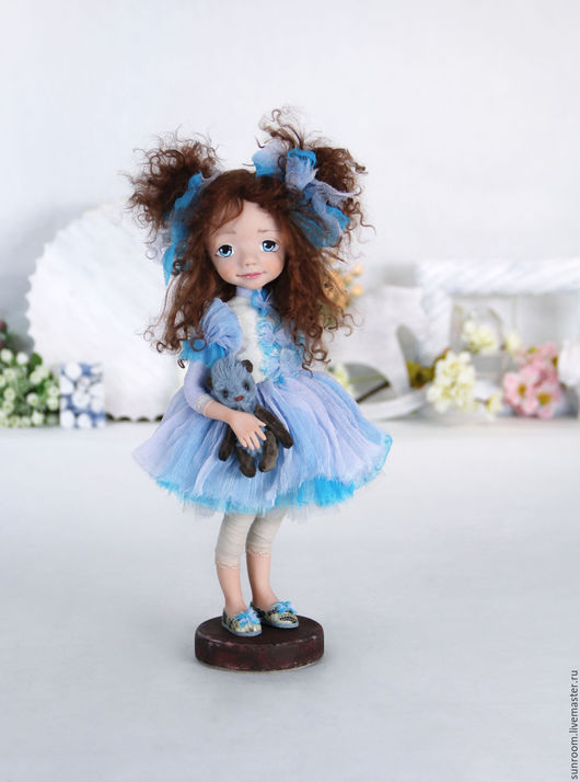 Коллекционные куклы ручной работы. Ярмарка Мастеров - ручная работа. Купить Стеша. Handmade. Голубой, кукла с мишкой