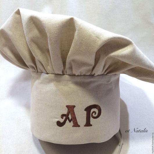 """Кухня ручной работы. Ярмарка Мастеров - ручная работа. Купить Поварской колпак из льна с вышивкой """"Именной"""". Handmade. Бежевый, для повора"""