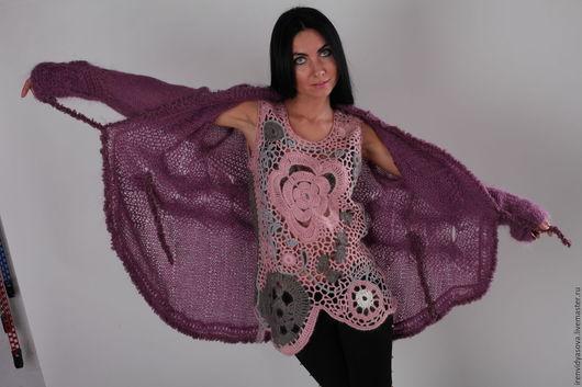 """Платья ручной работы. Ярмарка Мастеров - ручная работа. Купить Кардиган """". Handmade. Брусничный, вышивка, мама, свитер вязаный"""