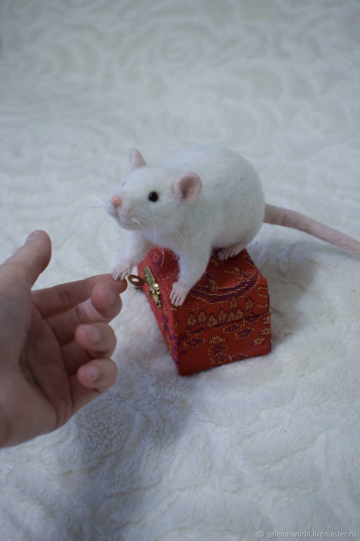 Игрушки животные, ручной работы. Ярмарка Мастеров - ручная работа. Купить Крыса. Handmade. Крыса, крыска, белая крыса, леска