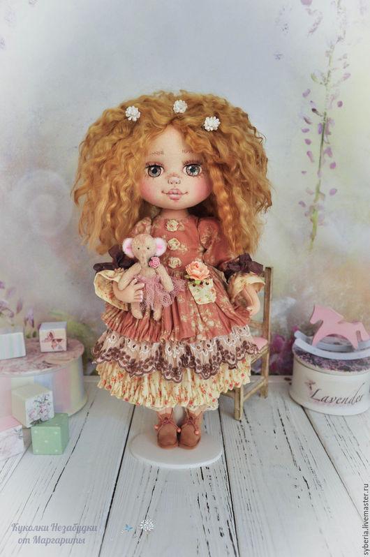 Коллекционные куклы ручной работы. Ярмарка Мастеров - ручная работа. Купить Карамелька и Цветочек. Коллекционная текстильная кукла. Handmade. Бежевый