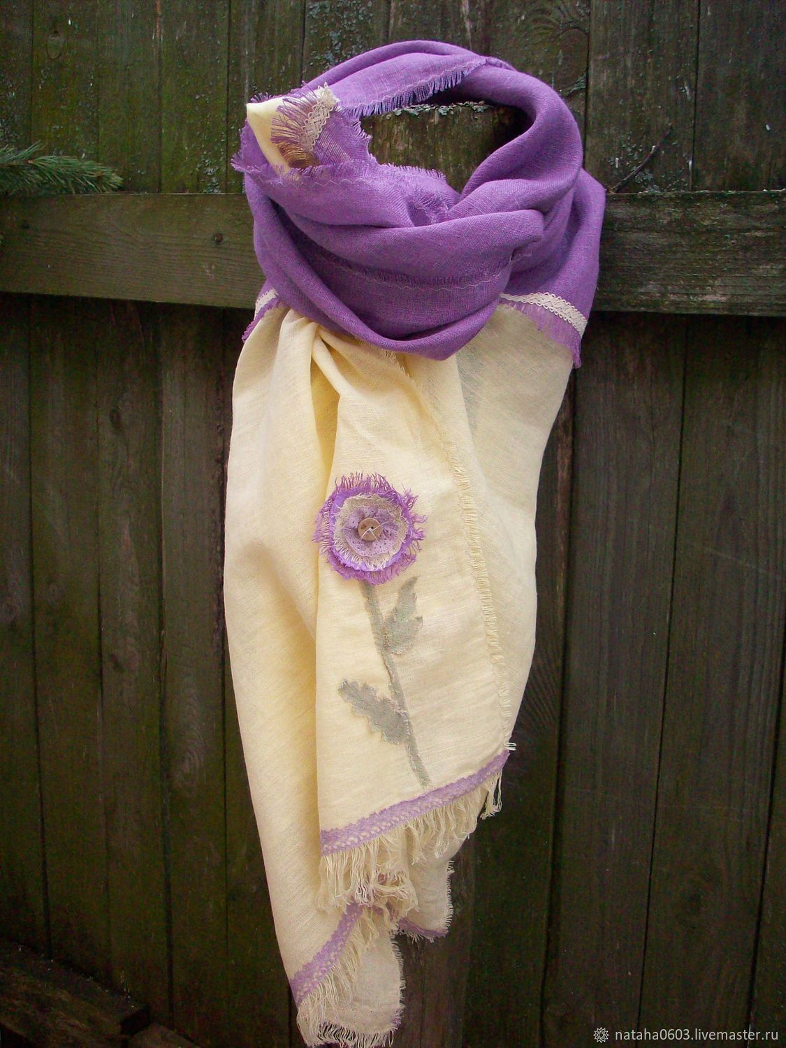A cloud of lilac tenderness a Large soft linen stole, Wraps, Shuya,  Фото №1
