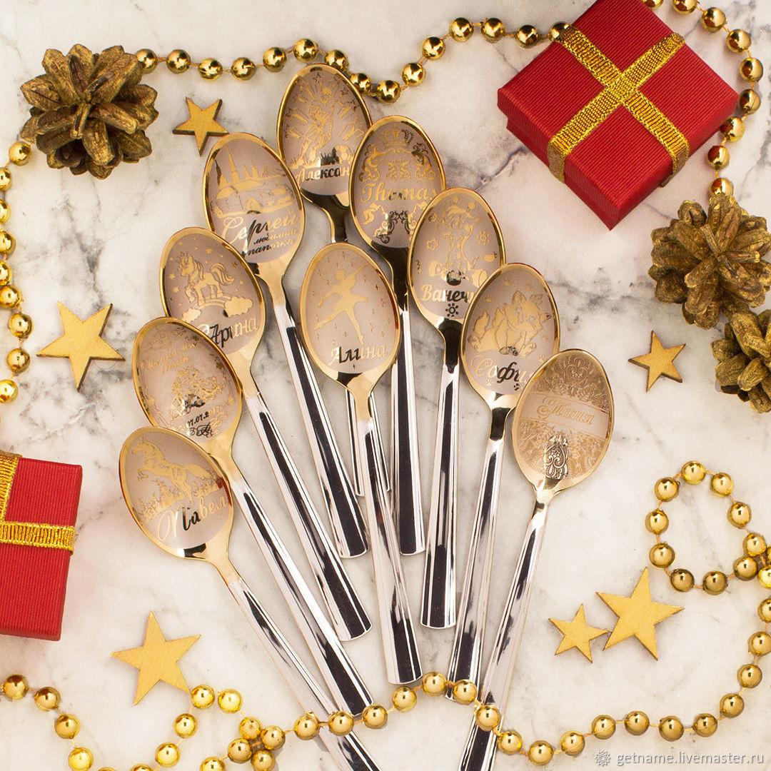 Новый год 2019 ручной работы. Ярмарка Мастеров - ручная работа. Купить 10 именных ложек подарок. Handmade. Сувенир