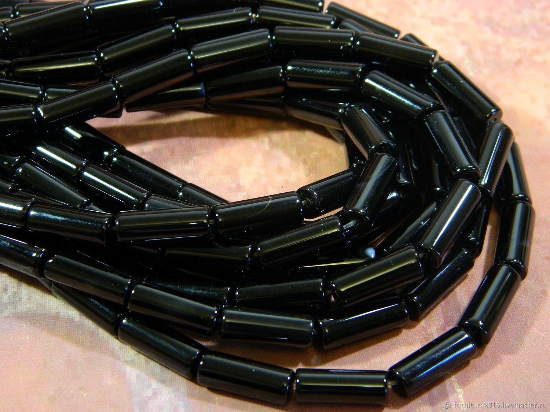 Черный агат 16х6 мм бусины цилиндр. шт, Бусины, Саратов,  Фото №1