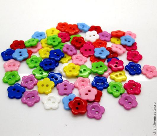 """Шитье ручной работы. Ярмарка Мастеров - ручная работа. Купить пуговицы пластиковые """"Цветок"""" 11 мм. Handmade. Разноцветный, Скрапбукинг"""