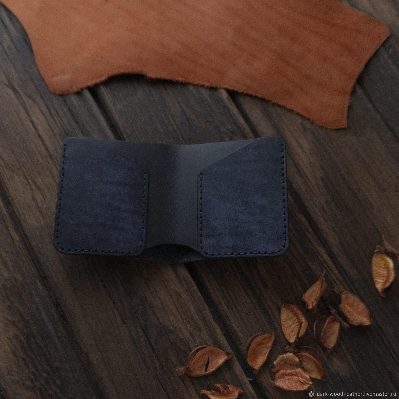 Компактный черный кошелек бифолд из натуральной кожи, Кошельки, Новосибирск,  Фото №1