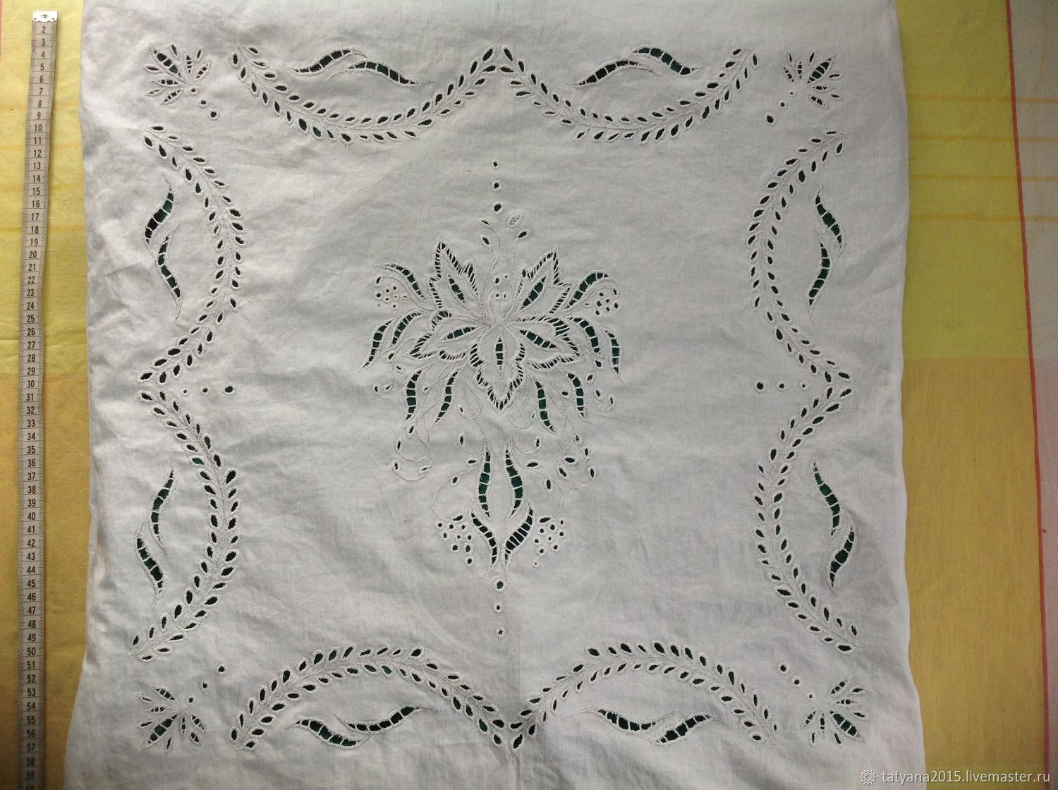 Pillow case on the pillow with embroidery in the technique of Richelieu, Pillow, Tomsk,  Фото №1