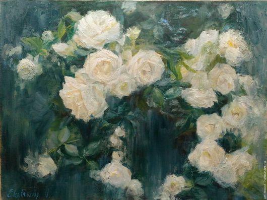 Картины цветов ручной работы. Ярмарка Мастеров - ручная работа. Купить Куст белых роз. Handmade. Комбинированный, этюд маслом