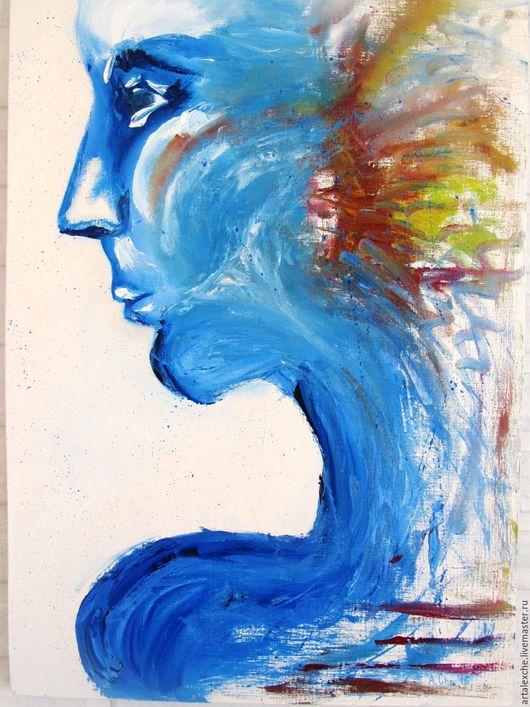 """Абстракция ручной работы. Ярмарка Мастеров - ручная работа. Купить Картина маслом. Абстракция """"Взгляд"""". Handmade. Синий, картина мастихином"""