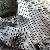 Блузки ручной работы. Ярмарка Мастеров - ручная работа Рубашка 2071полоска лен. Handmade.