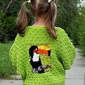 Работы для детей, handmade. Livemaster - original item jacket for girls Toucan. Handmade.