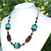 Украшения handmade. Livemaster - original item Necklace / choker genuine turquoise carnelian. Handmade.