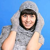 Аксессуары handmade. Livemaster - original item 79-a set of knitted accessories, scarf, hat, gloves. Handmade.