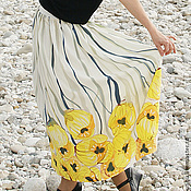 Одежда handmade. Livemaster - original item Skirt with yellow water lilies. Handmade.