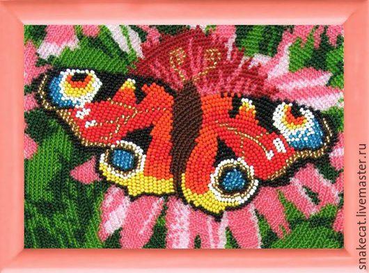 Вышивка ручной работы. Ярмарка Мастеров - ручная работа. Купить Рисунок на ткани BUTTERFLY арт. 930 Павлиний глаз 17х12см. Handmade.