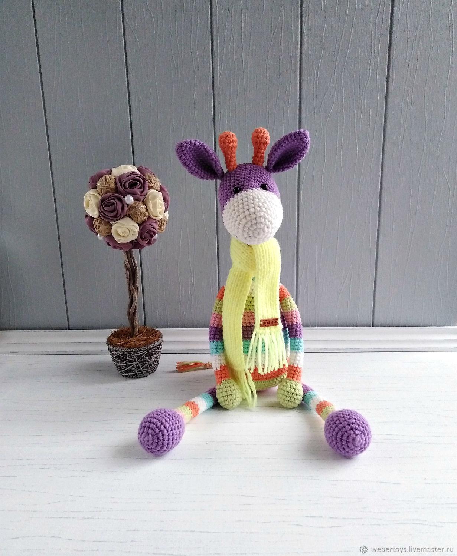 Игрушка для ребенка Полосатый жираф в шарфе, Мягкие игрушки, Нижний Тагил,  Фото №1