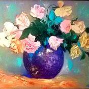"""Картины и панно handmade. Livemaster - original item Картина маслом цветы 50/60 """"Розы в вазе"""". Handmade."""