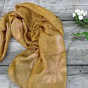 Аксессуары ручной работы. Ярмарка Мастеров - ручная работа Шелковый шарф Солнечный, эко принт. Handmade.
