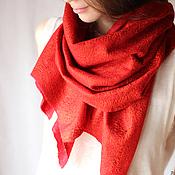 Аксессуары handmade. Livemaster - original item Felted red-terracotta scarf-cobweb. Handmade.