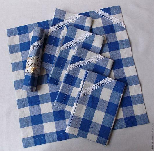 Кухня ручной работы. Ярмарка Мастеров - ручная работа. Купить Набор салфеток из льна в голубую клеткус отделкой кружевом.. Handmade.