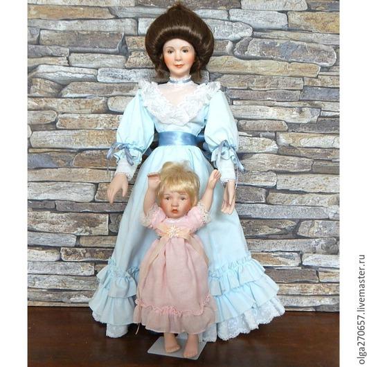 Винтажные куклы и игрушки. Ярмарка Мастеров - ручная работа. Купить Ashton Drake Коллекционная кукла с малышом. Handmade. Бежевый, фарфор