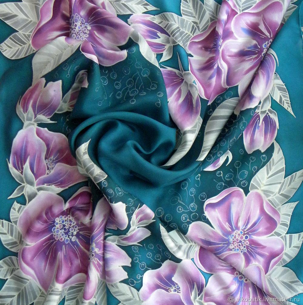 Silk scarf 'Lilac flowers' Lilac, blue-green gray. Silk, Shawls1, Kislovodsk,  Фото №1