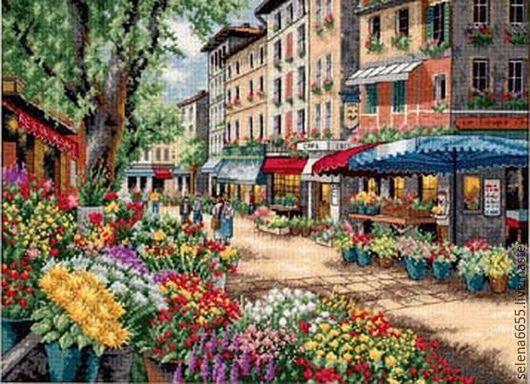 """Город ручной работы. Ярмарка Мастеров - ручная работа. Купить Вышитая картина""""Парижский рынок"""". Handmade. Вышитая картина, вышивка"""